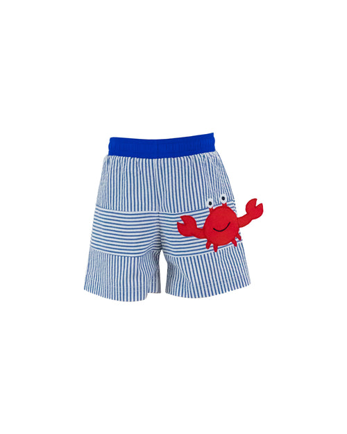 Boys Seersucker Swim Trunks with Crab Appliqué