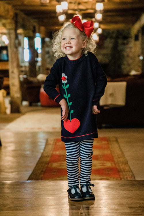 Navy Sweater Tunic w/Heart Pocket and Stripe Leggings - Florence Eiseman