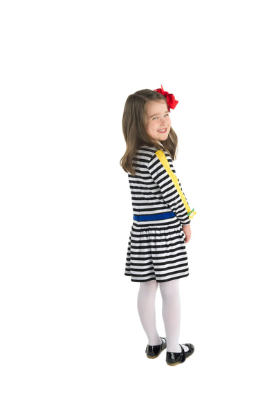 Knitted Stripe Dress with Appliqued Flowers - Florence Eiseman