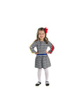 Knitted Stripe Dress with Appliqued Flowers