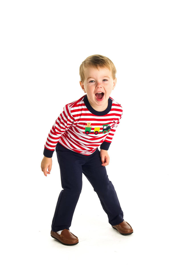 Stripe Boys Shirt with Train Applique