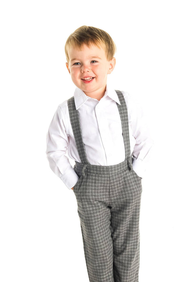 Grey Check Suspender Pant
