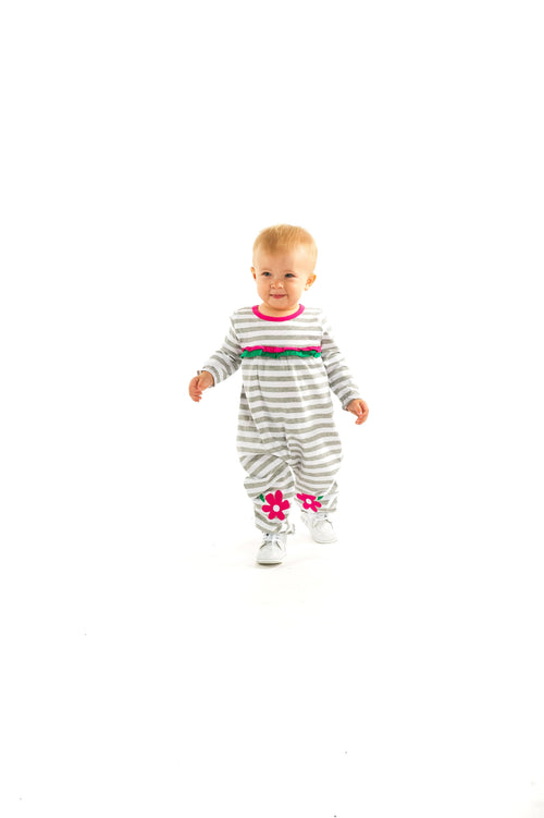 Girls Stripe Romper with Flower Knee Patches - Florence Eiseman