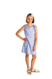 Blue Stripe Dress with Schiffli Embroidery - Florence Eiseman