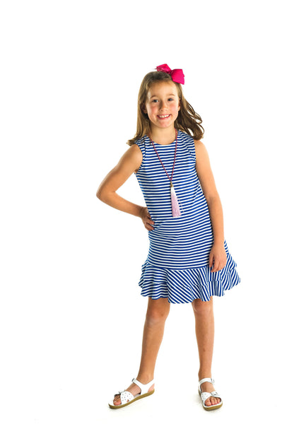 Stripe Knit Dress with Ruffles