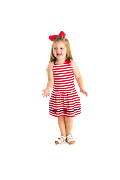 Red and White Stripe Knit Dress with Heart Appliques