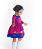 Knitted Stripe Dress with Hearts and Flowers - Florence Eiseman