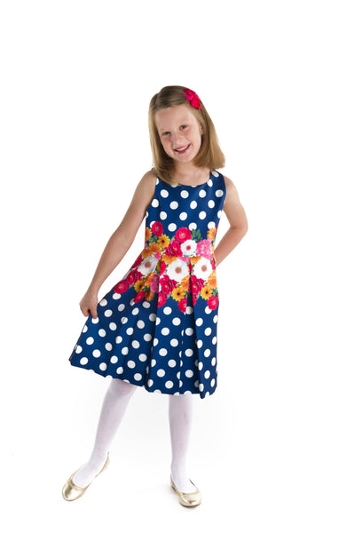 Tween Navy and White Polka Dot Floral Dress - Florence Eiseman