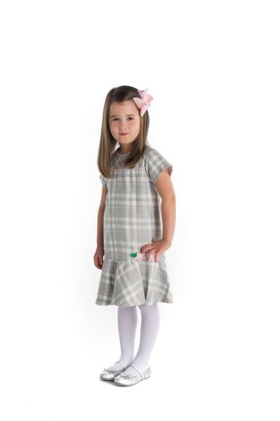 Plaid Dress with Appliqued Flowers
