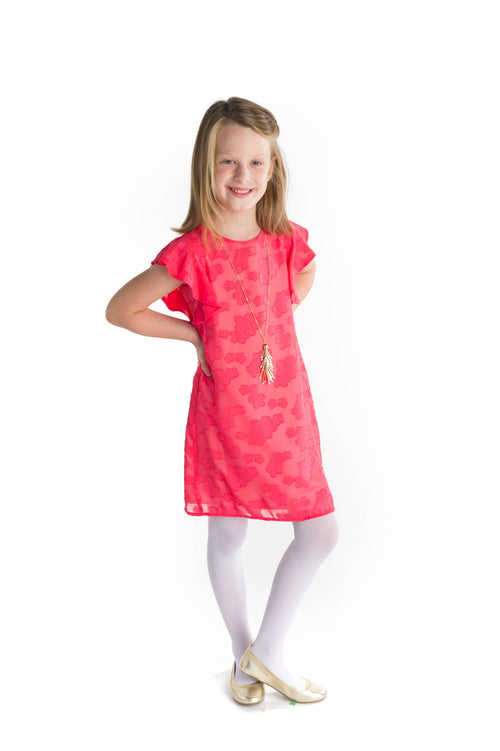 Tween Chiffon Dress with Flutter Sleeves - Florence Eiseman
