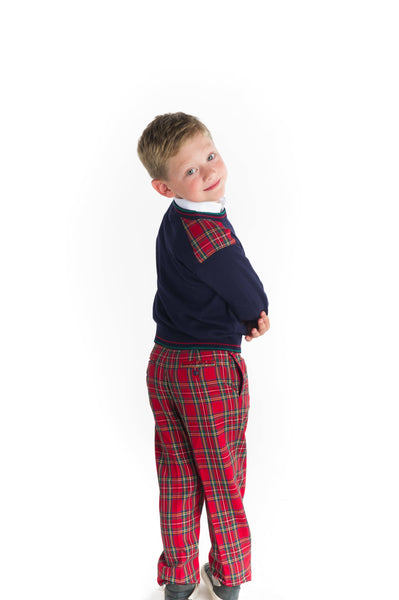 Boys Sweater with Tartan Shoulder Patches