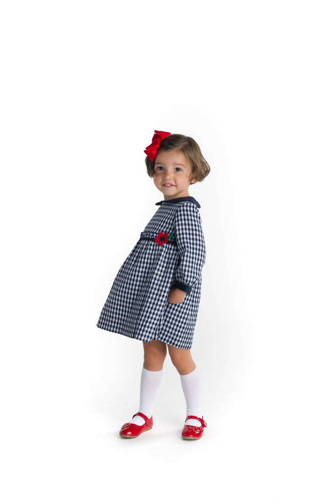 Navy Check Dress with Flower Applique