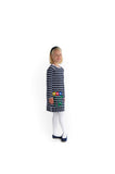 Stripe Knit Dress with Appliqued Flowers