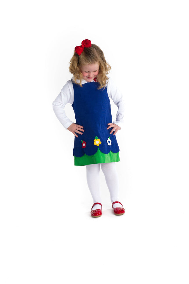 Girls Royal Corduroy Jumper with Flowers