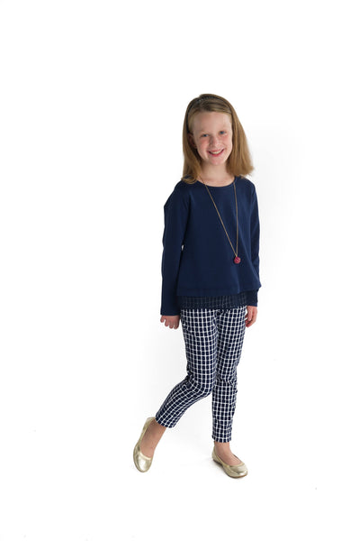 Tween Navy and White Geometric Print Pant