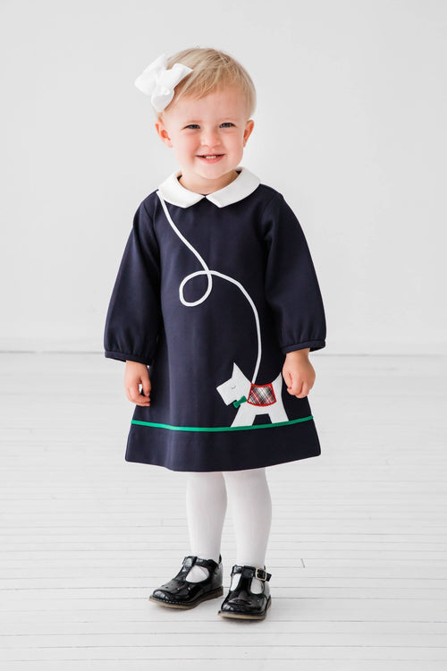 Navy Dress with Scottie Dog - Florence Eiseman