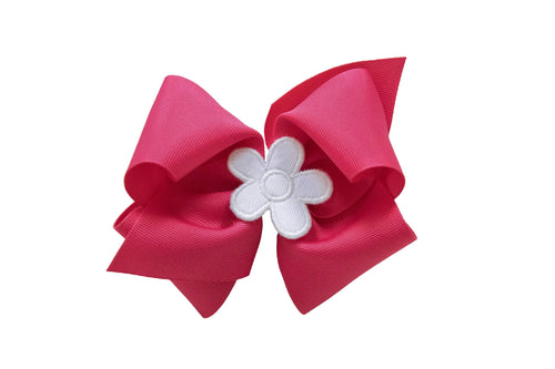 Fuchsia Wee Ones Hair Bow with White Flower