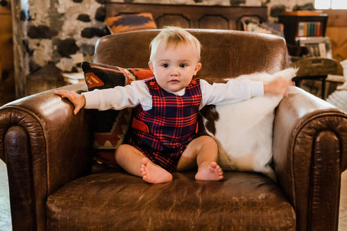 Navy/Red Plaid Boys Shortall - Florence Eiseman