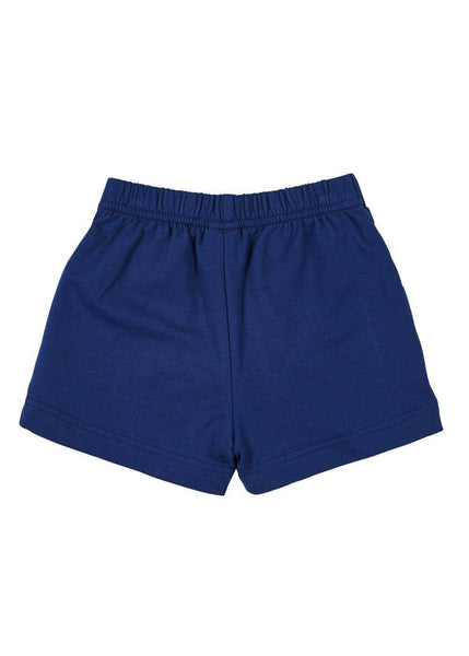 Navy French Terry Pull-On Short With Anchor Embroidery - Florence Eiseman
