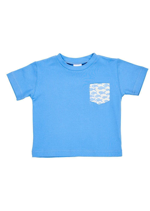 Blue Knit T-Shirt With Fish Print Pocket - Florence Eiseman