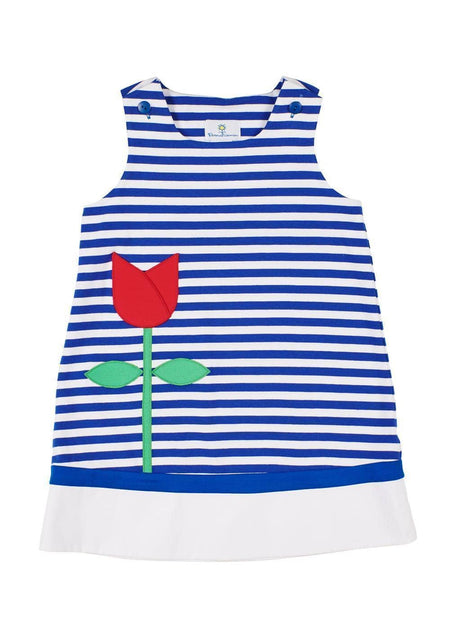 Seersucker Stripe Dress With Flowers
