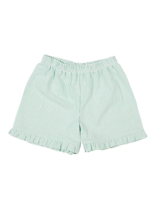 Seersucker Shorts With Ruffles