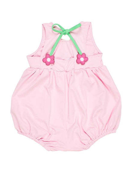 Pink Bubble Bottom Swim Romper With Flowers - Florence Eiseman