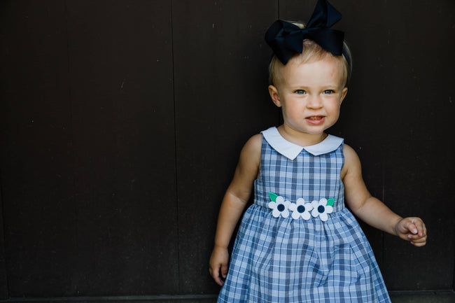 Girls Navy Plaid Dress with Appliqued Flowers