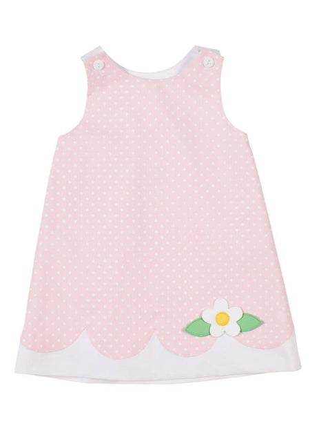 Light Blue Pique Dress With Outlined Flowers And Bloomer
