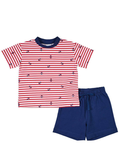 Navy French Terry Pull-On Short With Anchor Embroidery