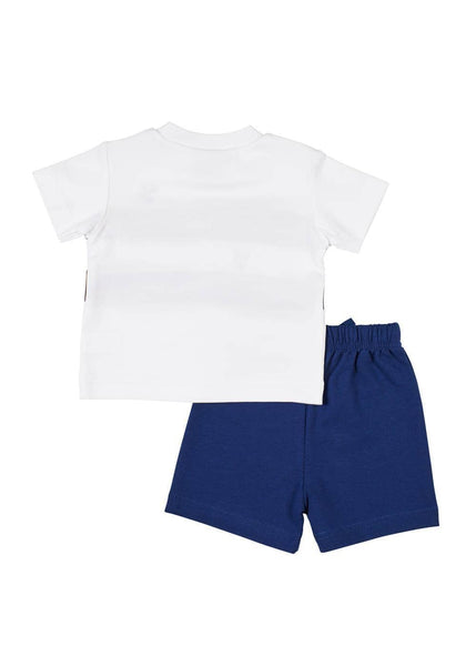 White/Navy Tee With Whale Applique And French Terry Short - Florence Eiseman