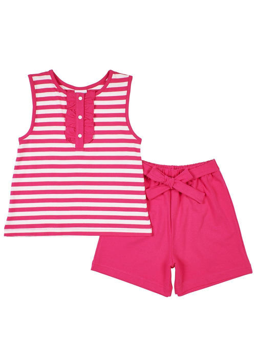 Fuchsia Stripe Ruffle Top And Short