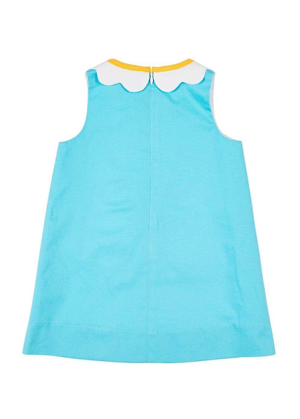 Turquoise Pique Dress With Flower Collar