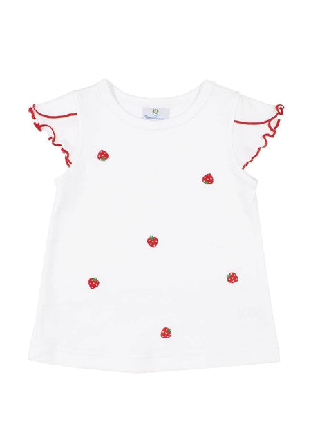 Blue Ruffle Top With Multi Dot Bloomer