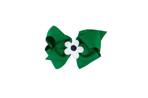 Kelly Green Wee Ones Hair Bow with White and Blue Flower