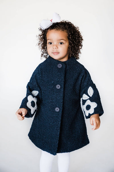 Navy Stretch Boucle Coat with Flower Details