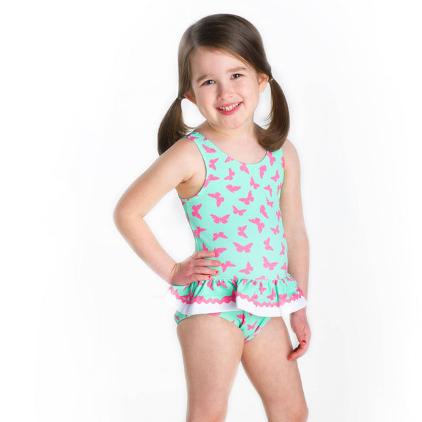 Butterfly Print Girls Swimsuit - Florence Eiseman