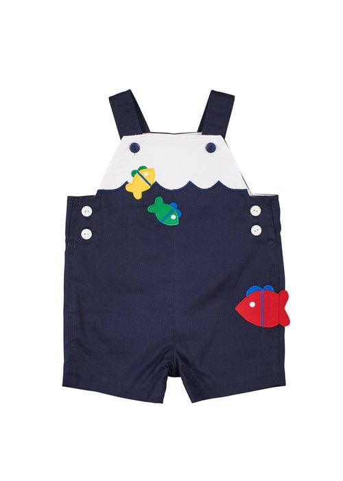 Navy/White Pique Shortall With Fish Applique