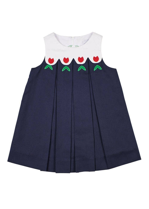 Navy/White Pique Scalloped Yoke Dress With Tulips