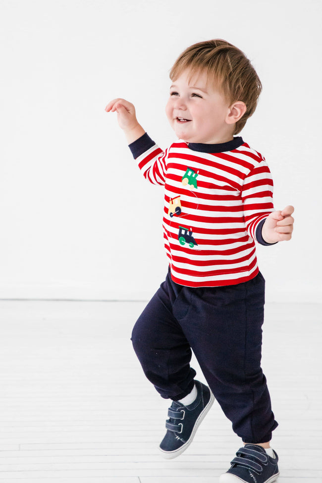 Red and White Stripe Knit Shirt with Train Applique