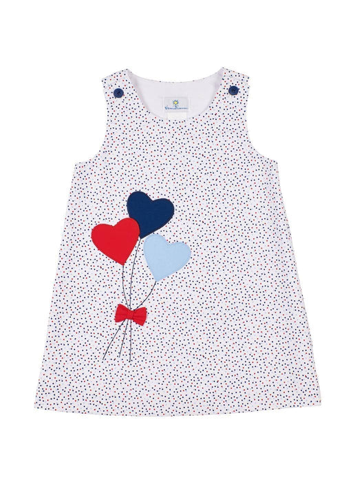 Multi Dot Pique Dress With Heart Balloons