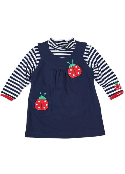 Girls Navy and White Striped Shirt with Ladybug with Navy Jumper