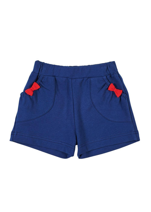 Navy French Terry Pull-On Short With Bows