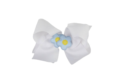 White Wee Ones Hair Bow with Two Light Blue and Yellow Flowers