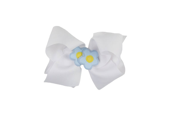 White Wee Ones Hair Bow with Two Light Blue and Yellow Flowers - Florence Eiseman