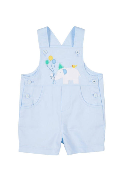 Light Blue Pique Shortall With Party Elephant Applique - Florence Eiseman