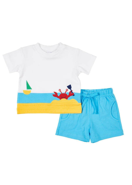White/Navy Tee With Whale Applique And French Terry Short