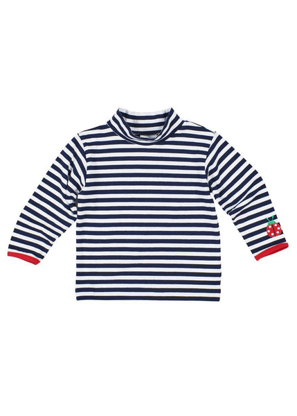 Girls Navy and White Striped Shirt with Ladybug