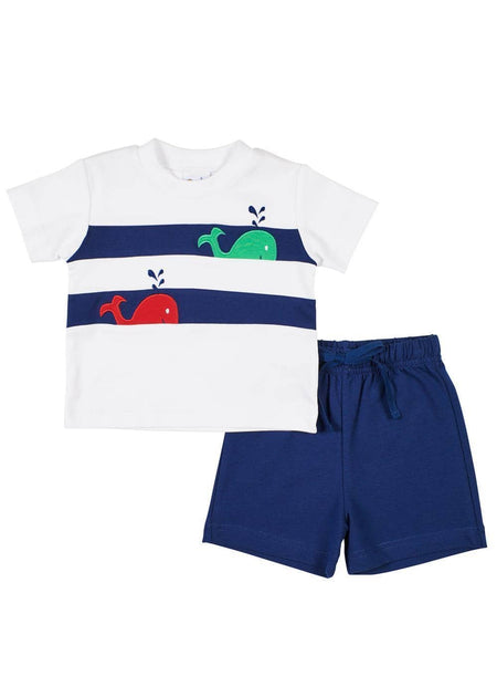White Crab Applique T-Shirt With Blue Shorts
