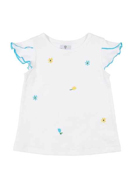 Blue Ruffle Top With Embroidered Flowers